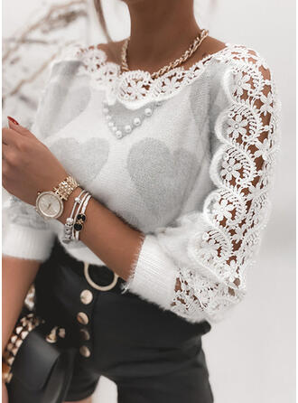 Print Lace Beaded Round Neck Casual Sweaters