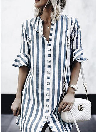 Striped V Neck 1/2 Sleeves Button Up Casual Shirt Blouses