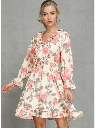 Print/Floral Long Sleeves A-line Above Knee Casual/Vacation Dresses