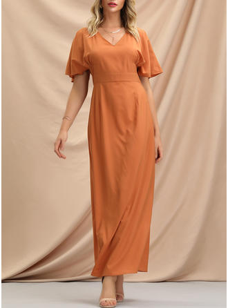 Solid Short Sleeves A-line Casual/Elegant Maxi Dresses