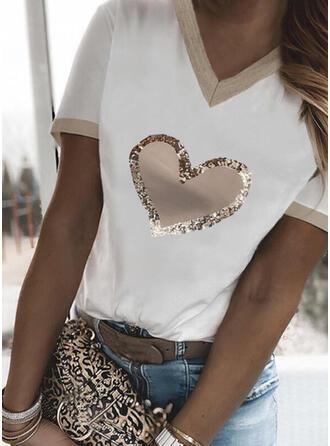 Sydän Printti V-kaula Lyhyet hihat T-paidat