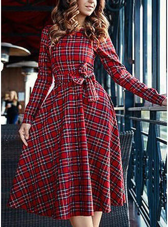 Plaid Long Sleeves A-line Midi Vintage/Casual/Elegant Dresses