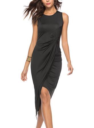 Solid Round Neck Asymmetrical Sheath Dress