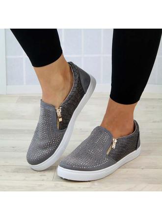 Women's PU Flat Heel Flats With Zipper shoes