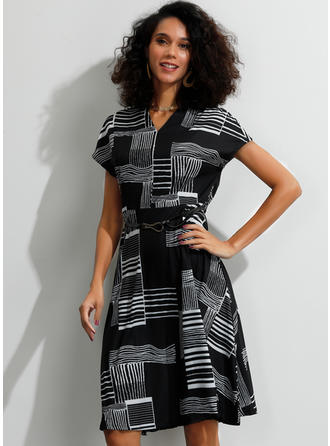 Striped/Geometric Print Short Sleeves A-line Knee Length Casual Dresses