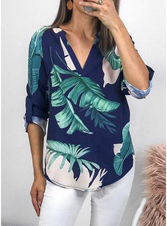 Print V Neck 3/4 Sleeves Casual Shirt Blouses