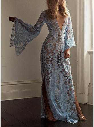 Lace/Solid Flare Sleeves A-line Maxi Sexy/Party/Vacation Dresses