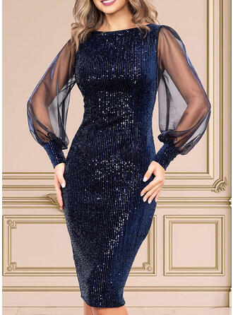 Sequins/Solid Long Sleeves/Puff Sleeves Bodycon Knee Length Party Dresses