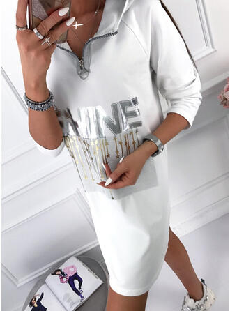 Print 3/4 Sleeves Shift Above Knee Casual Sweatshirt Dresses