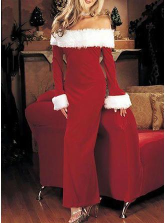 Solid Christmas Off-the-Shoulder Maxi Sheath Dress