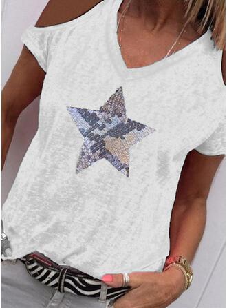 Print Cold Shoulder Korte Mouwen Casual T-shirts