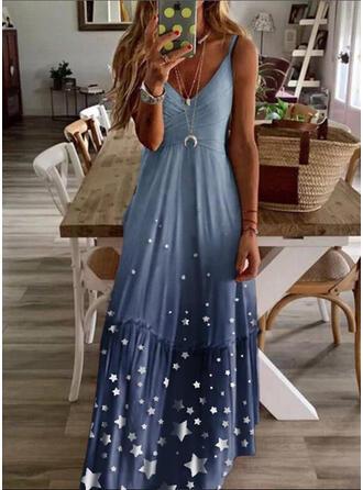 Lace/Print Sleeveless A-line Casual Maxi Dresses