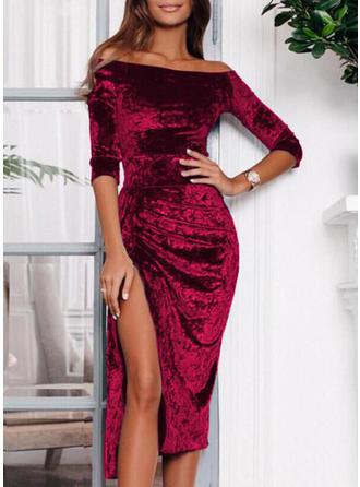 Solid Off-the-Shoulder Midi Sheath Dress