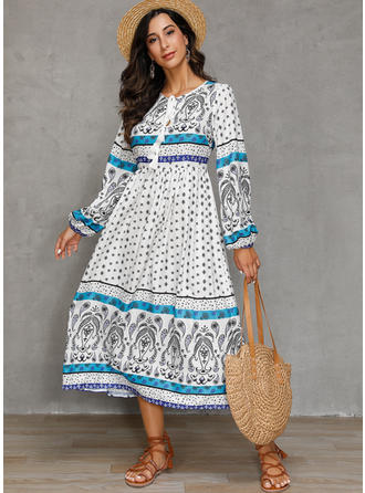 Print Long Sleeves A-line Casual/Boho/Vacation Midi Dresses