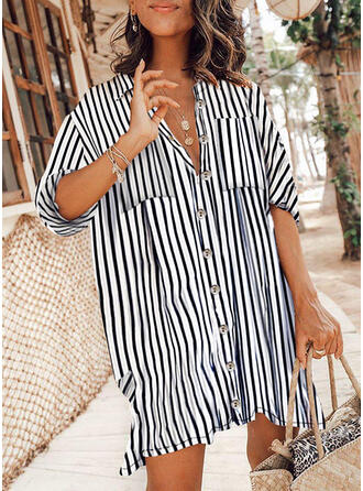 Striped 3/4 Sleeves Shift Above Knee Casual Dresses