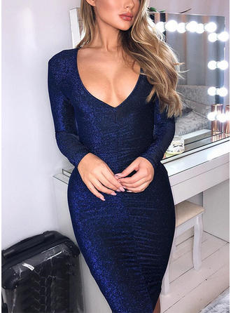 Sequins Long Sleeves Bodycon Knee Length Sexy/Party Dresses