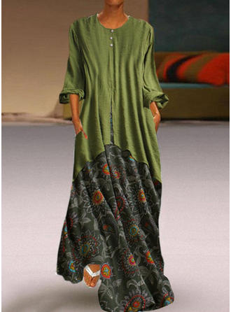Nadrukowana/Kwiatowy Rękawy 3/4 Koktajlowa Maxi Casual Sukienki