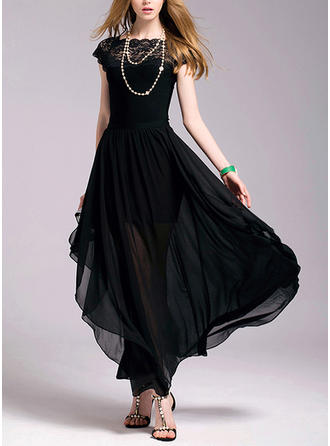 Lace/Solid Short Sleeves A-line Maxi Vintage/Little Black Dresses