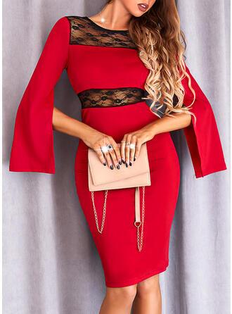 Blok Koloru Koronka Długie rękawy Slit Sleeves Bodycon Długośc do kolan Elegancki Sukienki
