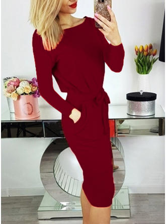 Solid Long Sleeves Bodycon Knee Length Elegant Dresses