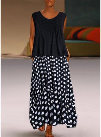 PolkaDot Sleeveless Shift Maxi Casual Dresses