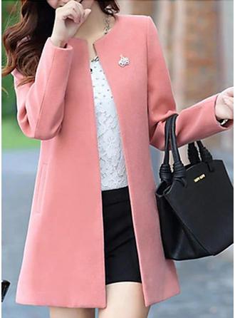 Polyester Long Sleeves Plain Wool Coats