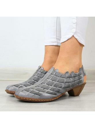 Frauen PU Stämmiger Absatz Absatzschuhe Geschlossene Zehe mit Geflochtenes Band Schuhe