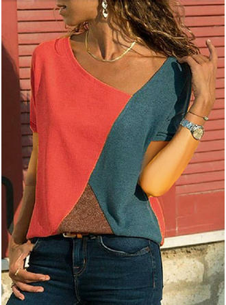 Color Block V Neck Short Sleeves Casual Blouses