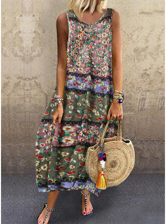 Print/Floral Sleeveless Shift Casual/Boho/Vacation Midi Dresses