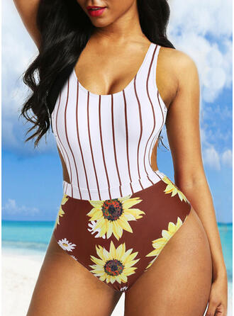 Floral Stripe Print Strap Round Neck Vintage One-piece Swimsuits