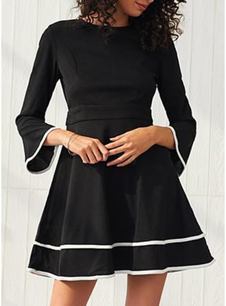 Solid 3/4 Sleeves/Flare Sleeves A-line Above Knee Little Black/Casual/Elegant Dresses
