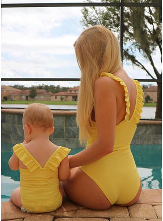 Mommy and Me Solid Matching Swimsuit