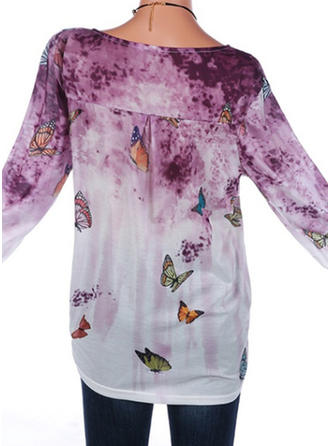 Cotton Round Neck Print Long Sleeves Casual Blouses