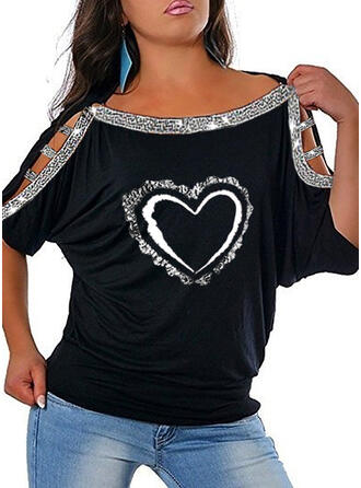 Print Sequins Cold Shoulder 1/2 Sleeves Casual Plus Size Blouses