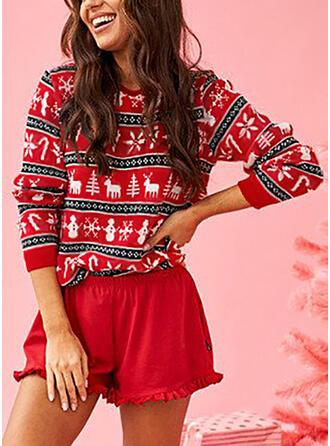 Women's Cotton Blends Print Deer Christmas Sweatshirt