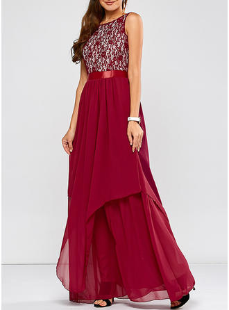 Lace Round Neck Maxi A-line Dress