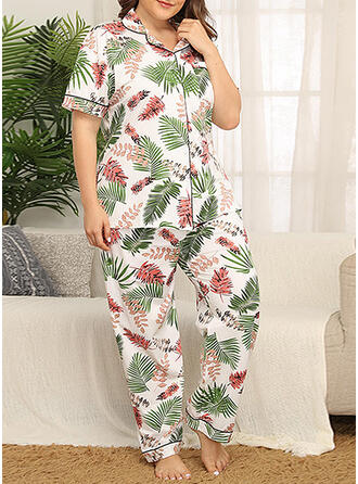Round Neck Short Sleeves Floral Plus Size Attractive Pajamas Sets
