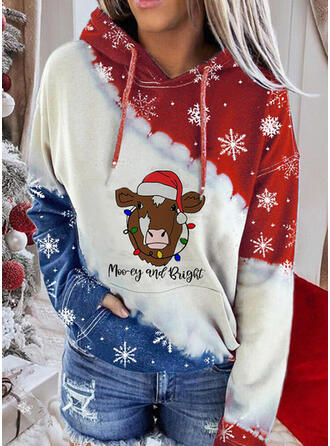 pailletter Lommer Lange ærmer Jule sweatshirt