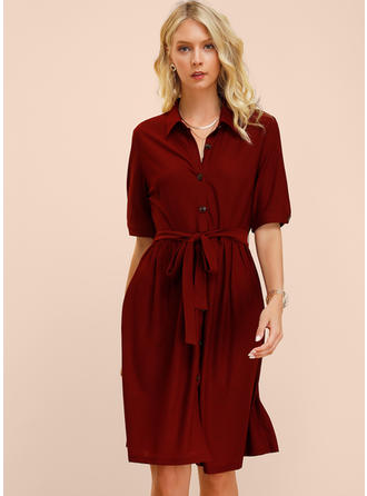 Solid 1/2 Sleeves A-line Knee Length Casual Dresses