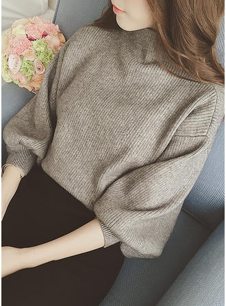 Cotton Turtleneck Plain Sweater