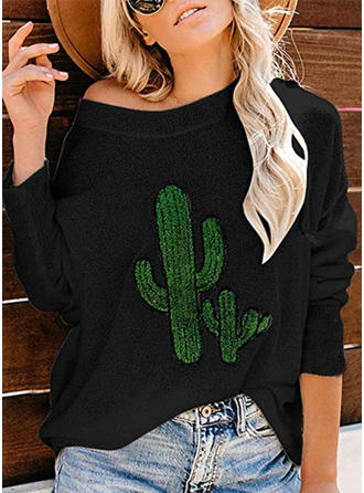 Print One-Shoulder 3/4 Sleeves Casual Knit Blouses