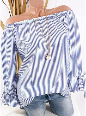 Cotton Blends Off the Shoulder Striped Long Sleeves Shirt Blouses