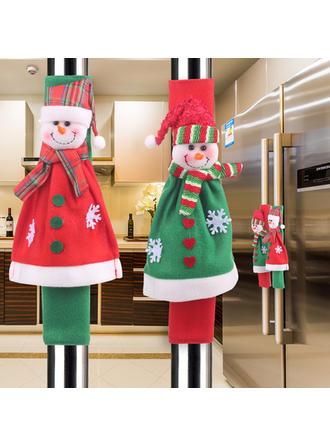 Feliz Navidad Monigote de nieve Tela Decoración navideña Cubierta de la manija del refrigerador (Juego de 4)