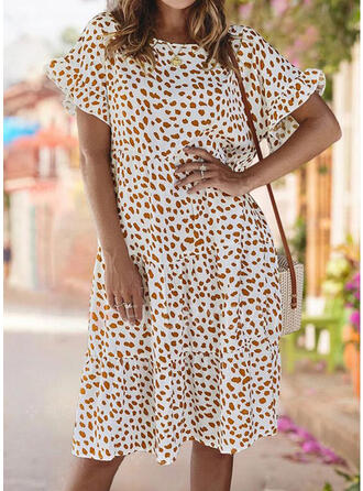 Print Short Sleeves/Flare Sleeves Shift Knee Length Casual/Elegant Dresses
