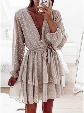 PolkaDot Long Sleeves A-line Above Knee Casual Dresses