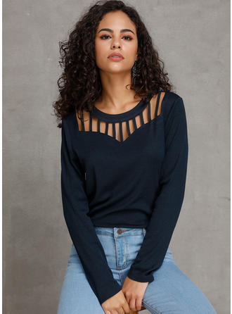 Solid Round Neck Long Sleeves Casual Sexy Knit Blouses