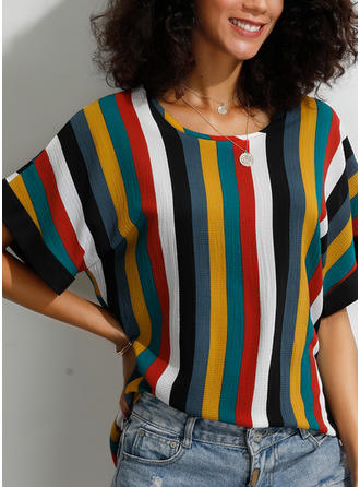 Striped Round Neck Short Sleeves Casual Knit T-shirts