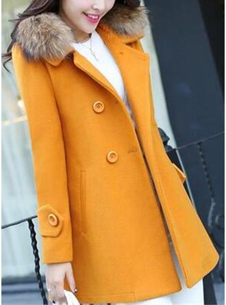 polyester Långa ärmar Solid färg Trench Coats Kappor