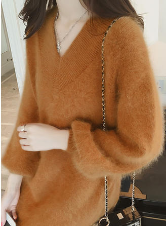 Mohair V-neck Colore solido Abito maglione
