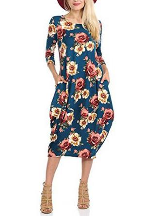 Print Floral Round Neck Knee Length Sheath Dress